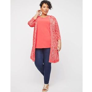 NWT CATHERINES Pleasantdale Duster Cardigan Coral